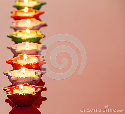 Lit Lamps for the Hindu Diwali Festival