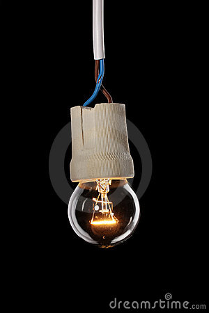 A lit light bulb