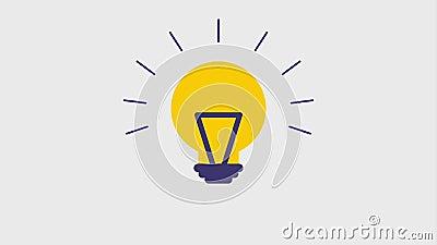 Lit lightbulb icons stock video footage