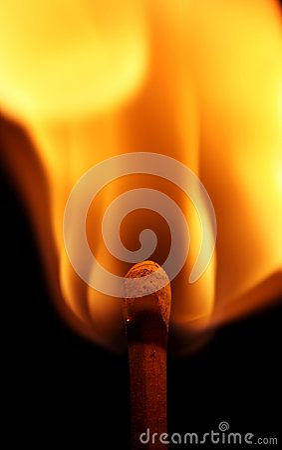 Lit match flame