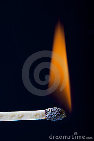 Lit Wooden Match Stick