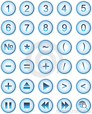 Lite blue web icons, buttons