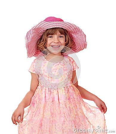 Liten flicka med den stora hatten