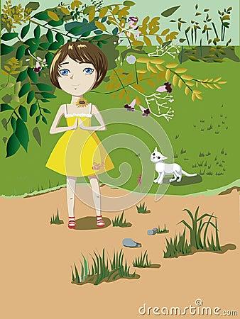 Liten flicka med en katt