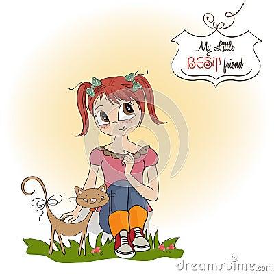 Liten flicka och henne katt