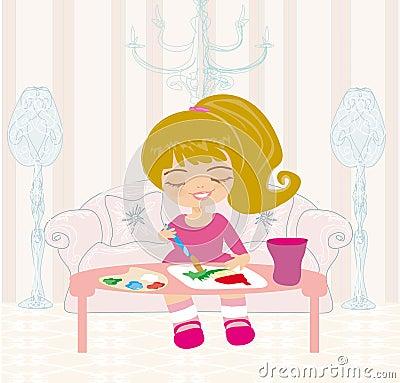 Liten flicka som målar hennes dröm- hus på canva för stort papper