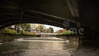 Lithaios river at Trikala Thessaly Greece stock video footage