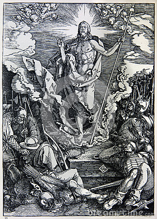Lithography of Christ resurrection