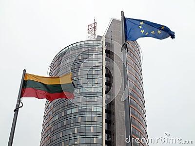 Lithuania and European Union flag