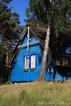 Lithuania Klaipeda typical wooden cottage