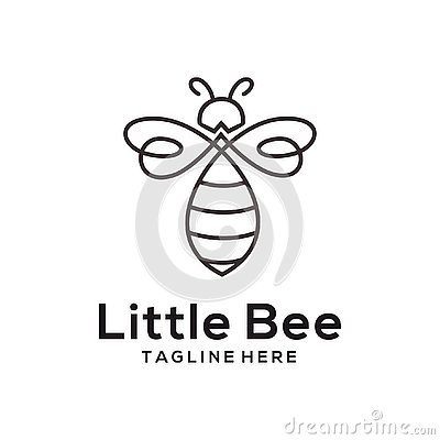 Litle bee animal logo and icon design Vector Illustration