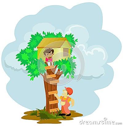 Litle boy stuck on the tree house