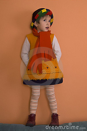 Free Litle Girl In Orange Dress  Stock Photo - 3843780