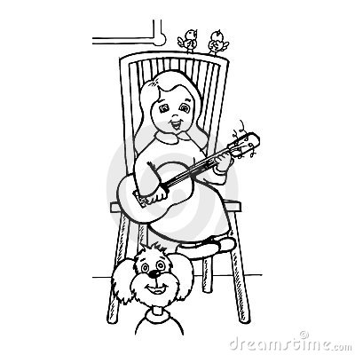 Litle girl singing at the guitar