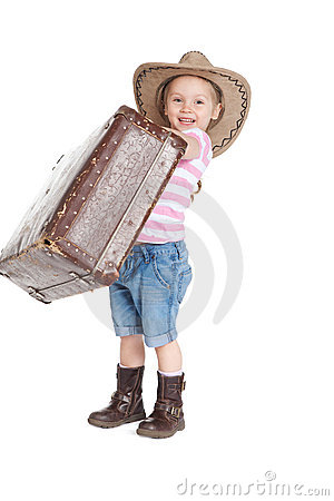 Litlle girl in a cowboy hat with a suitcase