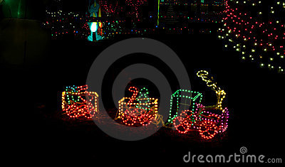 Litte Toy Train in Christmas Lights