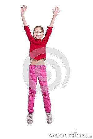 Littel girl jumping