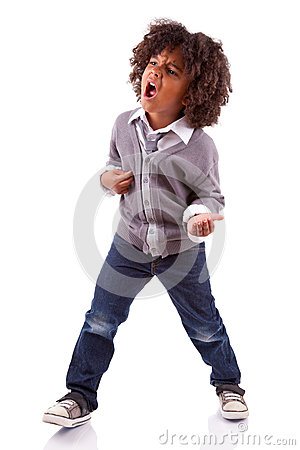 Free Little African American Boy Playing Air Guitar Stock Photography - 25499312