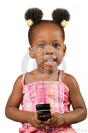 Little african american girl with cell phone
