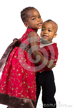 Little African American Sister and Bother Hug