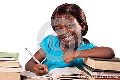 Little African American school girl smiling