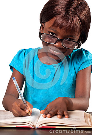 Little African American school girl wearing reading glasses