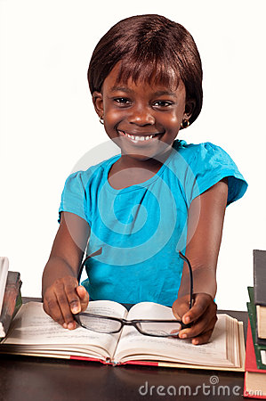 Little african american school girl