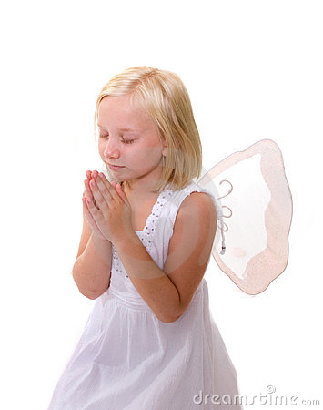 Little Angel: Girl praying, wearing wings