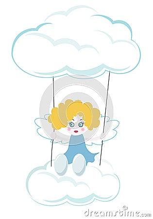 Little angel swinging in the sky