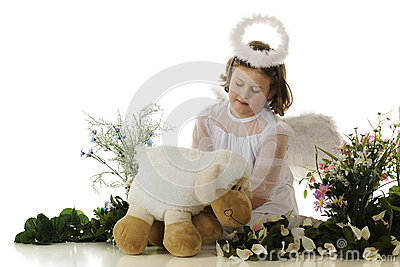 Little Angel Tending a Lamb