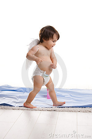 Little angel walking