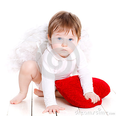 Free Little Angel With Red Heart Isolated On White. Stock Photography - 47807512