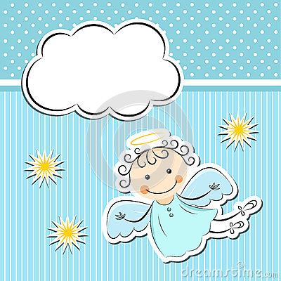 Free Little Angel With Stars And Cloud Stock Image - 32097481