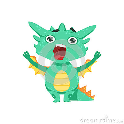 Free Little Anime Style Baby Dragon Shouting And Screaming Cartoon Character Emoji Illustration Royalty Free Stock Photo - 84005155