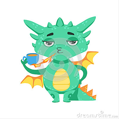 Free Little Anime Style Baby Dragon Warming Up Tea With Fire Cartoon Character Emoji Illustration Royalty Free Stock Image - 84005256