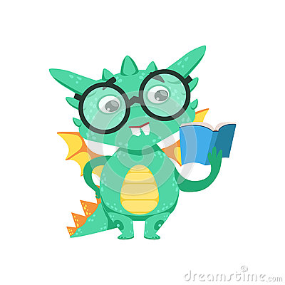 Free Little Anime Style Smart Bookworm Baby Dragon Reading A Book Cartoon Character Emoji Illustration Royalty Free Stock Photo - 84005615
