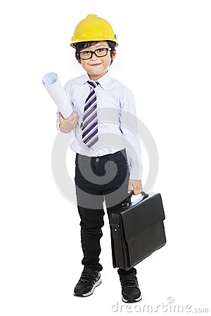 Free Little Architect Holding Bag - Isolated Royalty Free Stock Image - 33265616