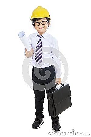 Little architect holding bag - isolated