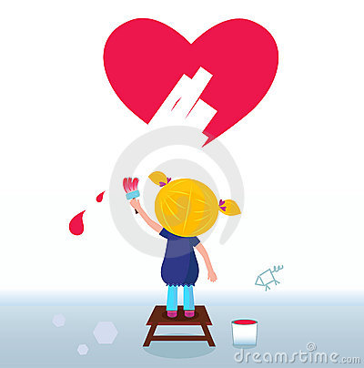 Little Artist - Cute Girl Painting Red Heart
