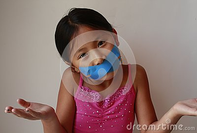 Little Asian Chinese girl with tape