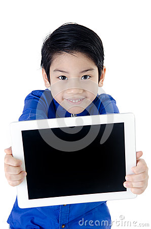 Free Little Asian Cute Boy Smiles With Tablet Computer On Isolated Ba Stock Image - 34598461