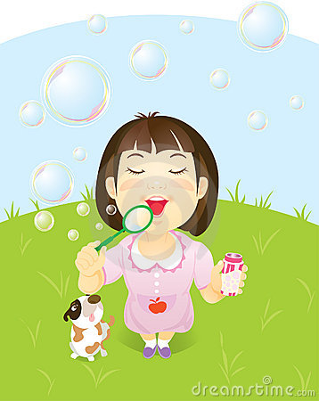 Little Asian Girl Blowing Bubbles