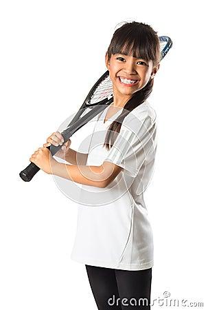 Free Little Asian Girl Holding Tennis Racket Royalty Free Stock Image - 47643056