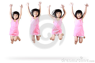 Little asian girl jumping