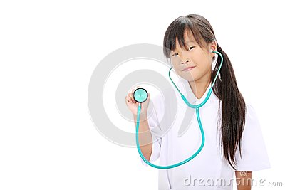 Little asian girl playing nurse