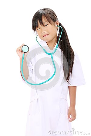 Little asian girl playing nurse