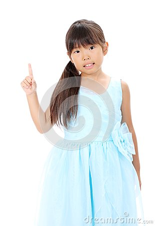 Little asian girl pointing