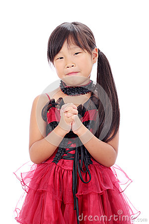 Little asian girl praying