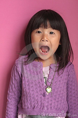 Little asian girl screaming