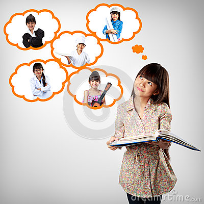 Free Little Asian Girl Thinking Of Future Education Stock Photos - 39757983